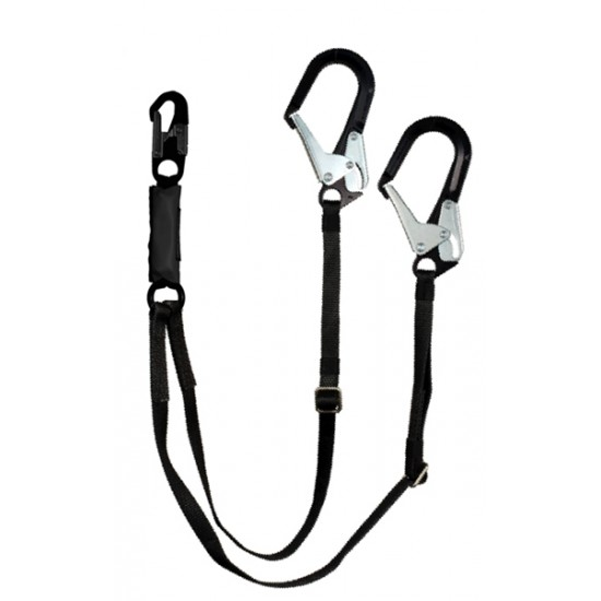 "876-12B Adjustable Dual Leg 6-12 ft. Free Fall Lanyard - 2 1/2"" Aluminum Ladder Hook (Black)"