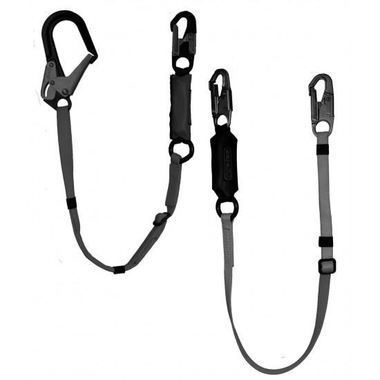 "872-12B Adjustable w/6-12 ft. Free Fall SA Lanyard - 2 1/2"" Alum. Ladder Hook (Black)"